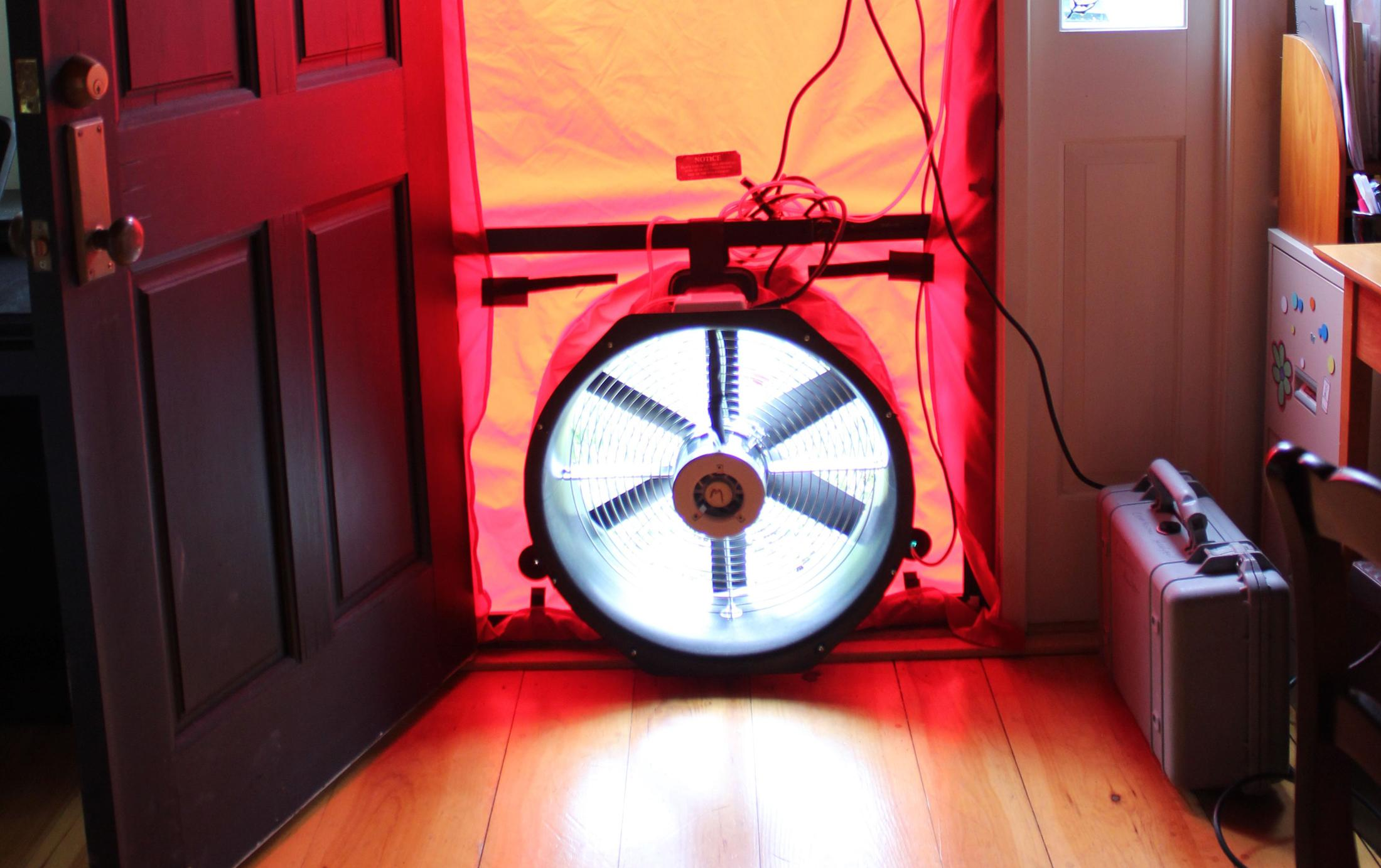 Blower Door with Fan Running