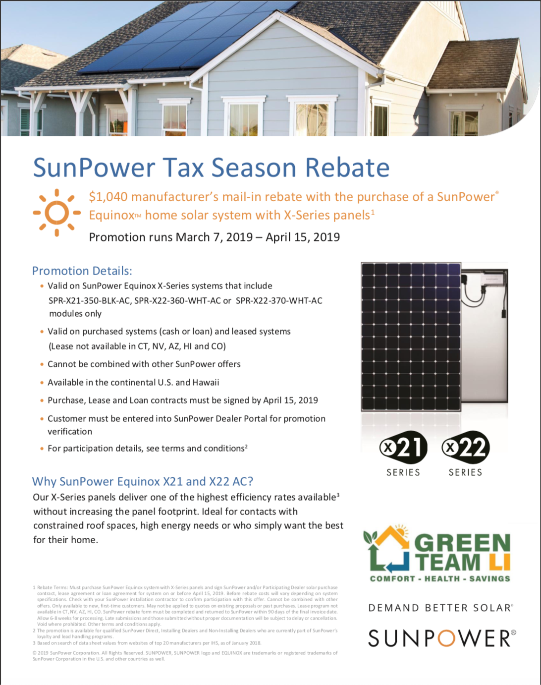 SunPower 1040 | Green Team LI Rebates and Promotions