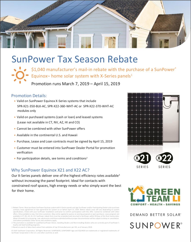 SunPower 1040 | Green Team LI Rebates and Promotions