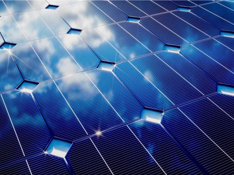 Solar Panels Reflecting The Sky